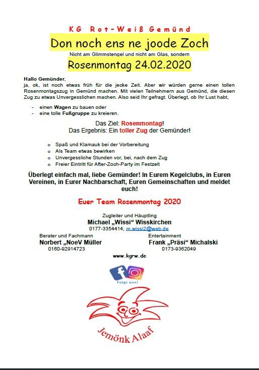 Aufruf zum Rosenmontagszug Gemünd 2020.